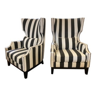 Black + White Stripe High Back Arms Chairs - a Pair For Sale