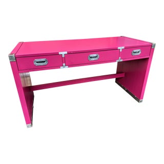 1980s Glossy Raspberry Bernhardt Campaign Desk For Sale