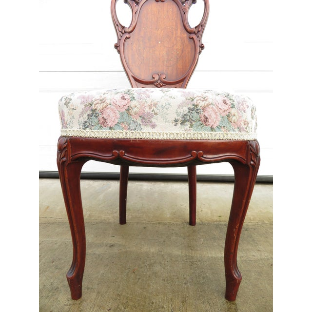 Mahogany Late 19th Century Antique French Carved Mahogany Art Nouveau Side Chair For Sale - Image 7 of 13