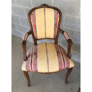 Vintage French Louie XV Style Upholstered Settee & Arm Chairs - 3 Piece Set Preview
