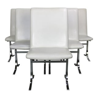 1970's Dyrlund White & Chrome Dining Chairs - Set of 6