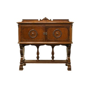 1940s Antique Mahogany Jacobean Style Storage Cabinet / Sideboard For Sale