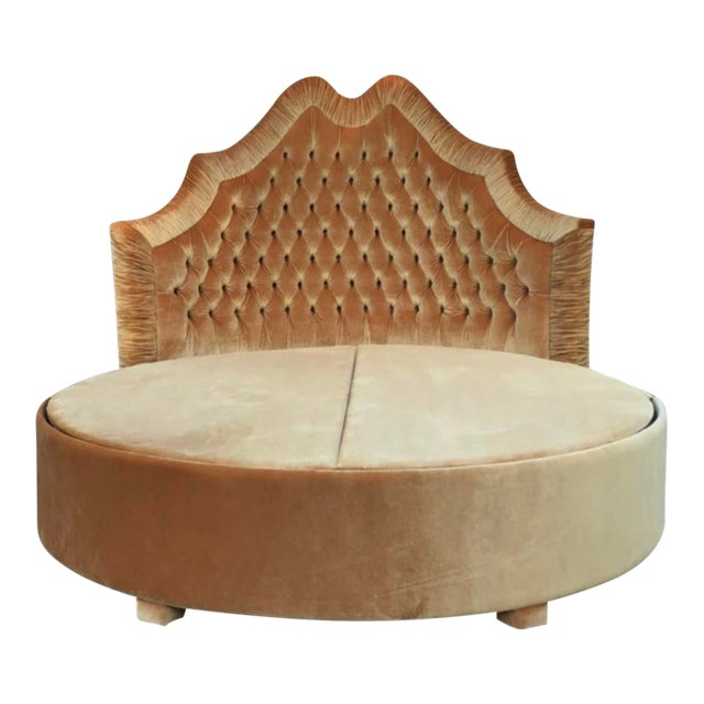 Round Upholstered Tufted Bed For Sale