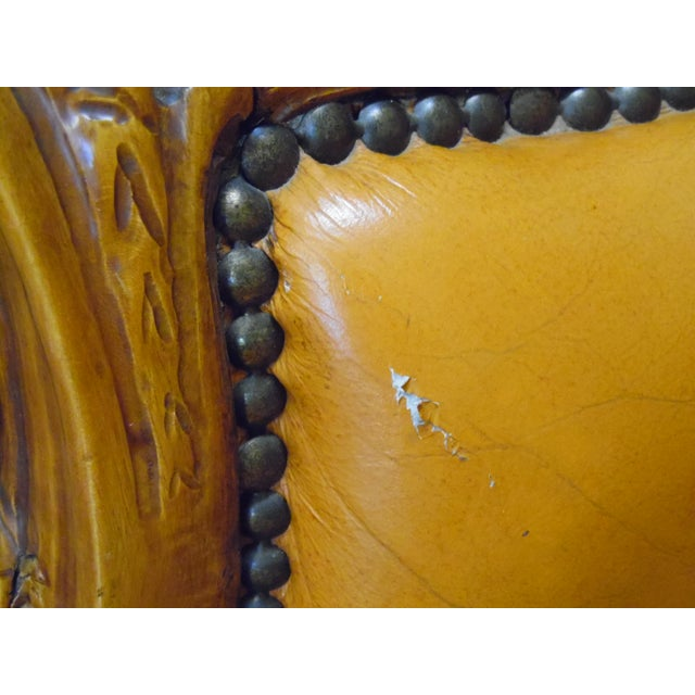 1920s 1930s Hand Carved Leather Chairs - Set of 4 For Sale - Image 5 of 9