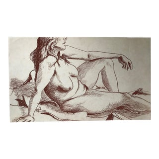 Relaxed Female Nude Figure Drawing For Sale