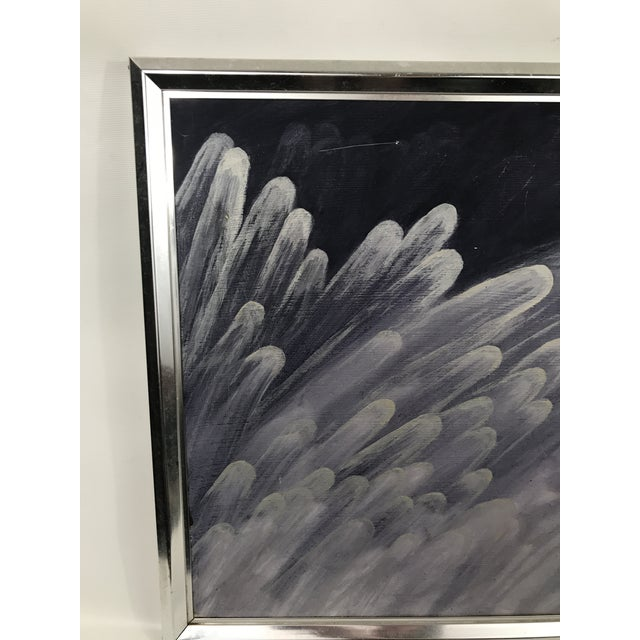 Vintage contemporary original oil on canvas painting of stylized white feathers on a deep purple colored background....