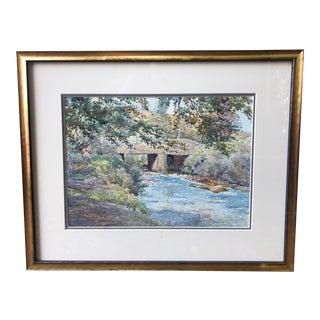 American Impressionist Watercolor 1980s For Sale