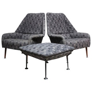 Pair of Ernest Race Lounge Chairs and Ottoman in Eames Upholstery