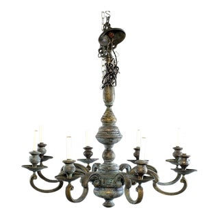 Large Eight Light Green Patinated Brass Chandelier For Sale