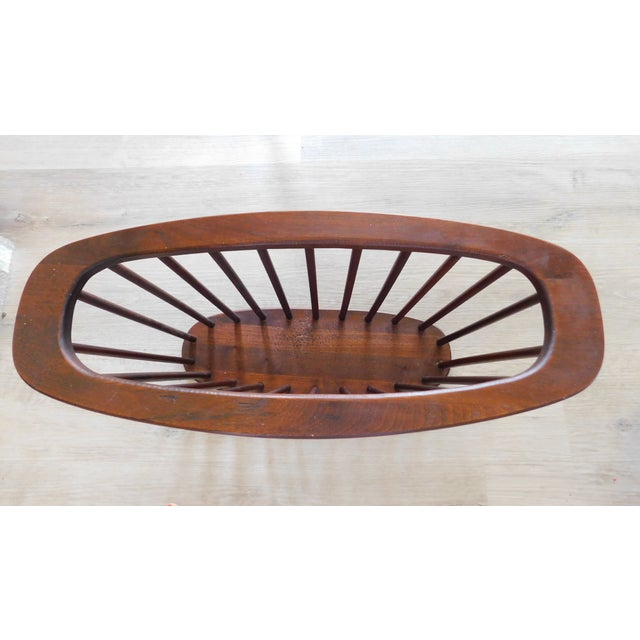 Brown Mid-Century Vintage Walnut Spindle Magazine Rack Attributed to Arthur Umanoff For Sale - Image 8 of 11