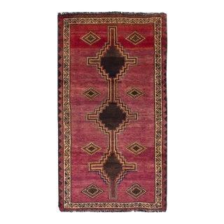 """SHIRAZ QASHQAI Vintage Persian Rug, 4'1"""" x 7'5"""" feet"""