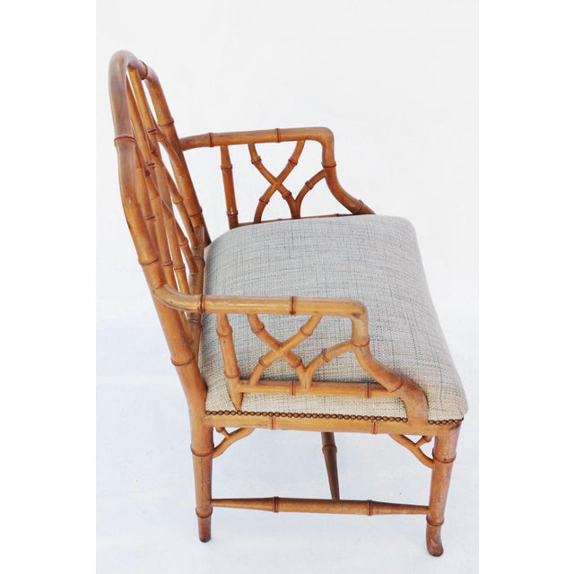 Pair of Gothic Style Fretwork Faux Bamboo Armchairs For Sale In West Palm - Image 6 of 7