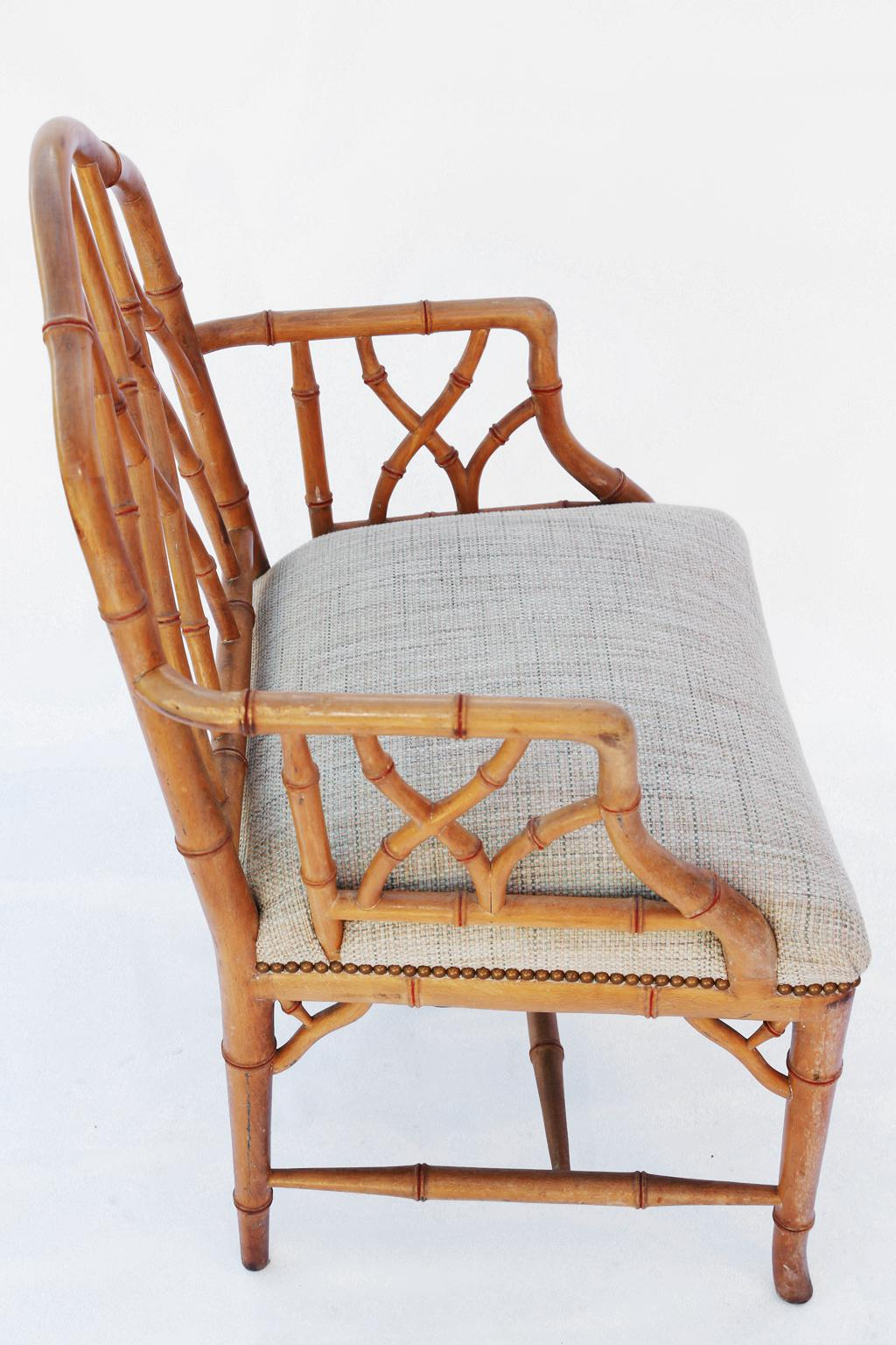Pair Of Gothic Style Fretwork Faux Bamboo Armchairs   Image 6 Of 7