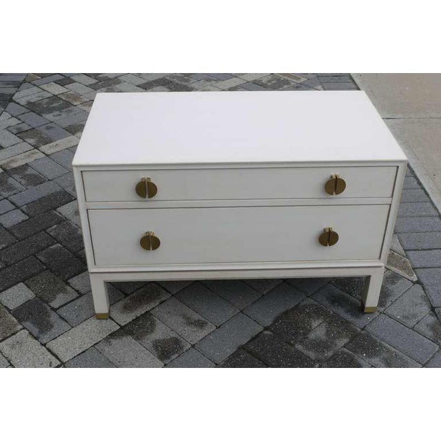 Ivory Faux Ivory Low Chest by Dunbar For Sale - Image 8 of 11