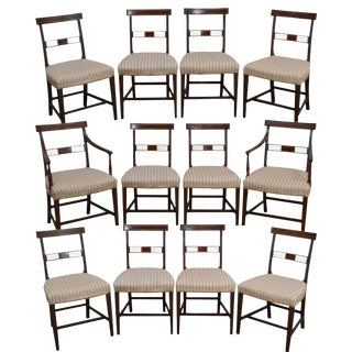 Antique Early 19th Century English Regency Mahogany Inlaid Dining Chairs - Set of 12