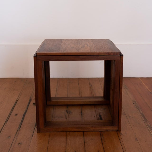 1960s Rosewood Kai Kristiansen Nesting Cube Tables For Sale - Image 5 of 12