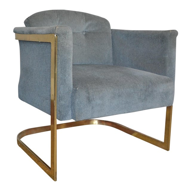 Milo Baughman Style Brass Frame Club Chair - Image 1 of 5