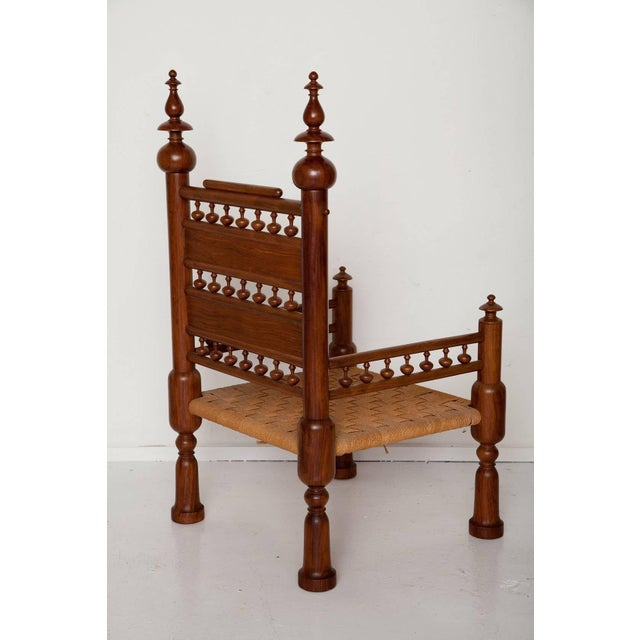 1960s Moorish Syrian Brass Inlaid Chair For Sale - Image 5 of 11