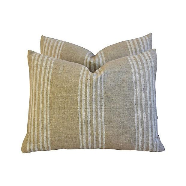 Custom Tan & White French Ticking Feather & Down Pillows - A Pair - Image 7 of 11