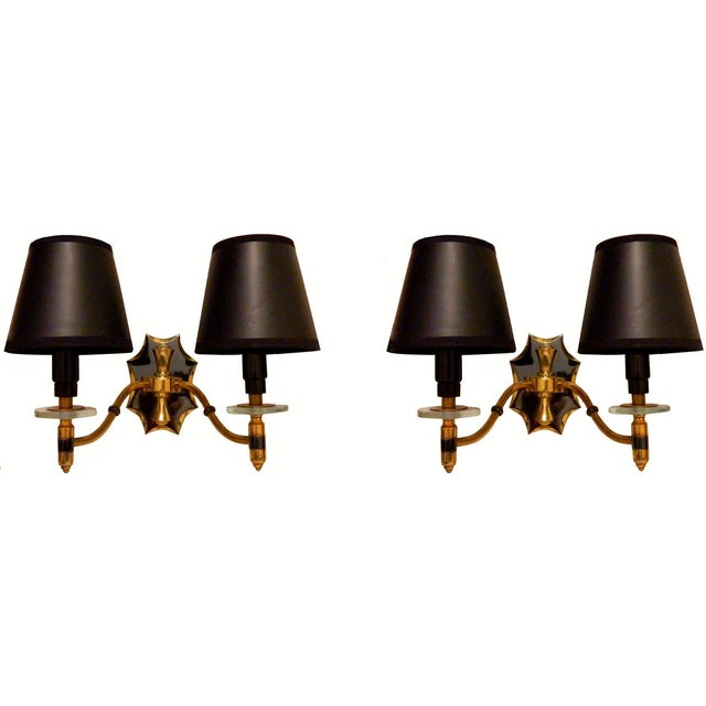 French Brass Sconces - A Pair - Image 1 of 4