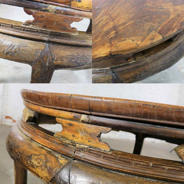 Antique Chinese Round Center Table Hand Carved Elm For Sale - Image 11 of 13