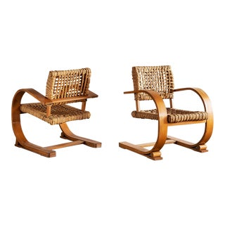 Pair of Audoux Minet Rope Chairs, France, 1940s For Sale