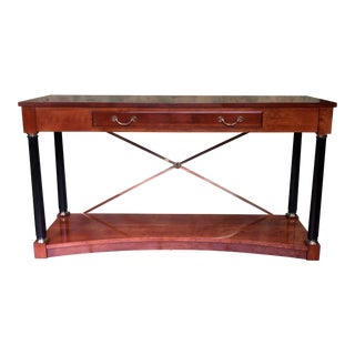 Ethan Allen Medallion Neoclassical Cherry Console Table For Sale