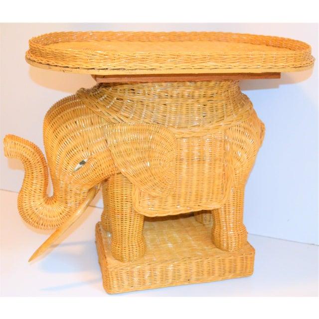 Boho Chic Wicker Rattan Elephant Tray Table (Final Markdown Taken) For Sale - Image 13 of 13