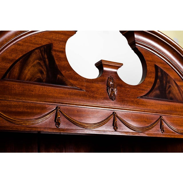 Handmade Mahogany Wood Two Parts Breakfront For Sale - Image 4 of 13