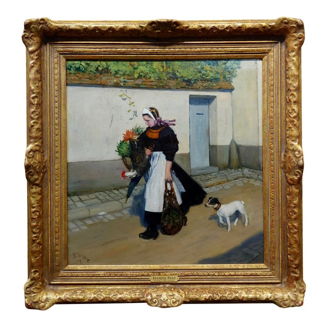 Jacques Wely -Woman & Her Jack Russel Dog Coming From the Market-Oil Painting For Sale