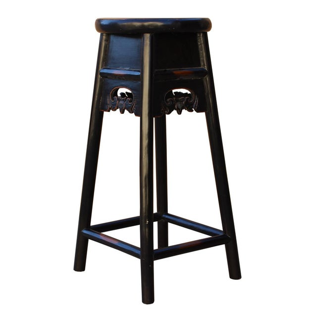Quality Handmade Chinese Black Color Solid Elm Wood Bar Stool For Sale - Image 4 of 5