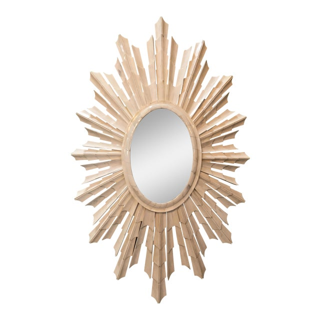 Italian Bone Sunburst Mirror with Convex Glass For Sale