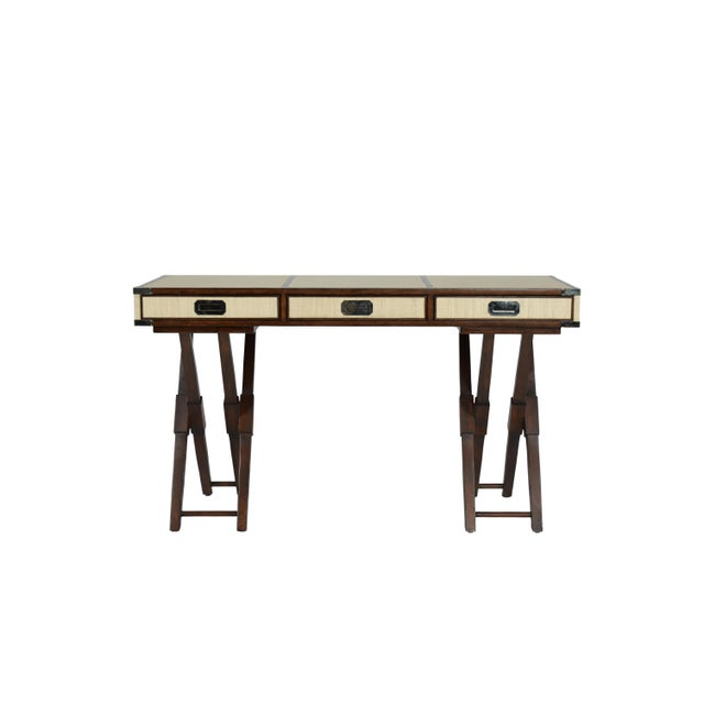 Brown Campaign David Francis Mahogany/Leather Writing Desk For Sale - Image 8 of 8