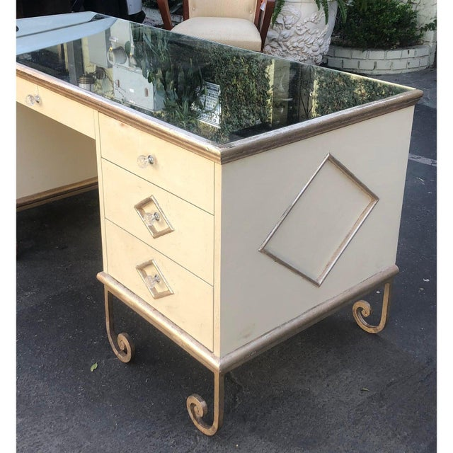 Art Deco Vintage Art Deco Mirror Top Vanity Dressing Table Writing Desk For Sale - Image 3 of 7