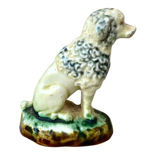 1900 Antique Majolica Poodle Onnaing Figurine For Sale