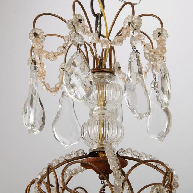 French Five Light Brass Beaded Cage Shape Chandelier - Image 6 of 6