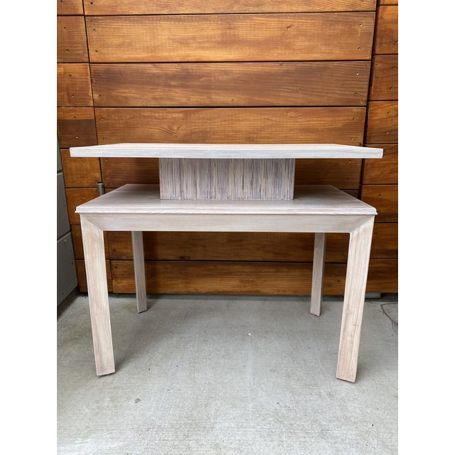 1950's whitewashed side table by Paul Frankl for Brown Saltman. Beautiful grain on table surface. Combed oak on the center...