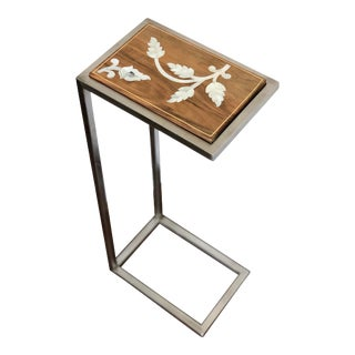 Contemporary Hand Crafted Mother of Pearl Inlaid Side Table For Sale
