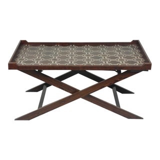 Antique Wood & Leather Tray Table For Sale