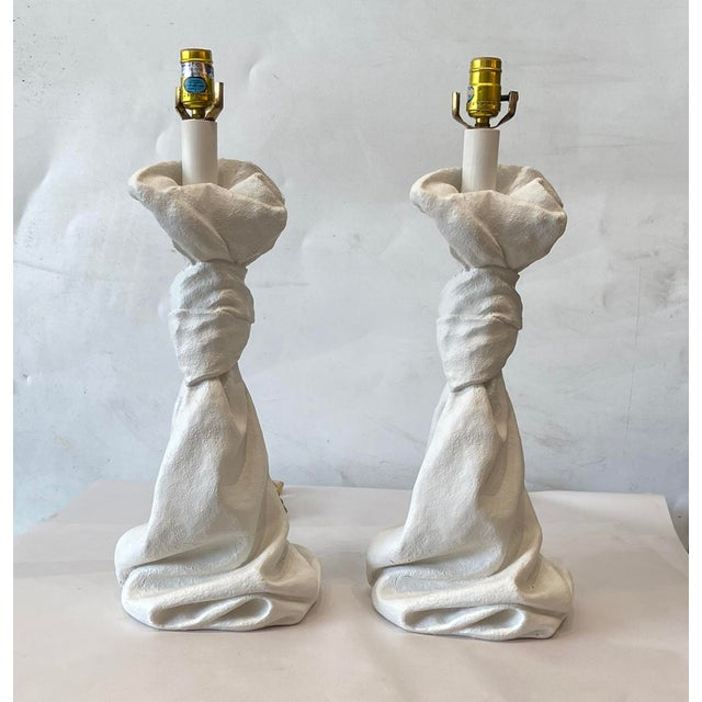 1980s Dickenson Style Plaster Table Lamps - a Pair For Sale - Image 5 of 5