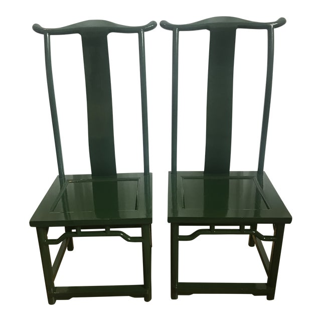 Chinoiserie Ming Style Green Lacquered Chairs - a Pair For Sale