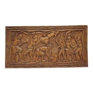 Antique Hand Carved African Tribal Plaque For Sale