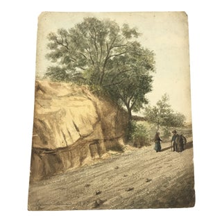 """1877 Landscape Watercolor Titled """"on the Route to Vaucluse"""" by Unknown Artist For Sale"""