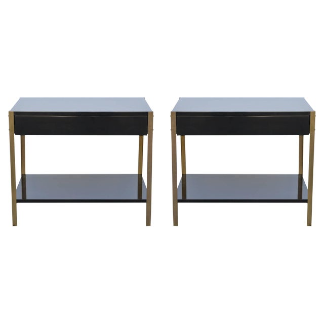"""Contemporary Design Frères """"Laque"""" Black Lacquer and Brass Nightstands - a Pair For Sale - Image 9 of 9"""
