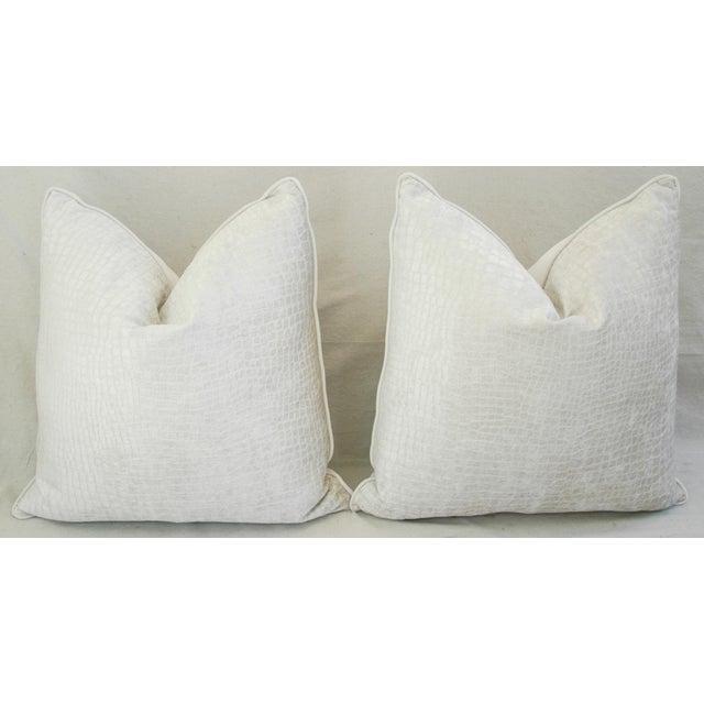 Boho Chic White Crocodile Velvet Pillows - a Pair - Image 2 of 11