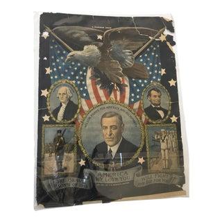 Original 1917 WW1 Patriotic Lithograph Poster