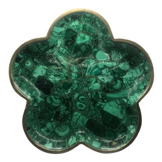 1970s Large Malachite and Brass Bowl For Sale