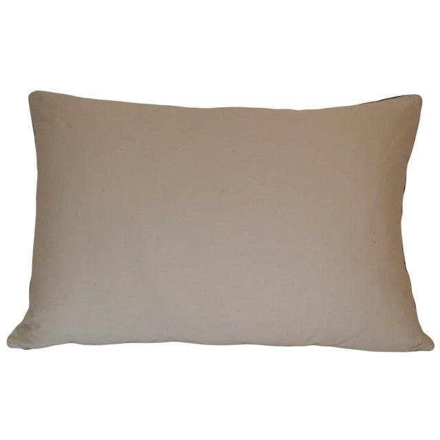 Mineral Blue Silk Velvet Ikat Pillow - Image 2 of 2
