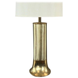 Uncommon Laurel Streamlined Polished and Brushed Brass Table Lamp For Sale