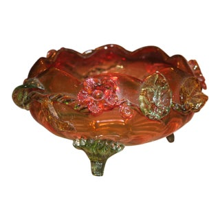 """1920-30 Art Deco Important Frederic Carder' Steuben Glassworks """"Applied Flowers"""" to a Clear/Colored Glass For Sale"""